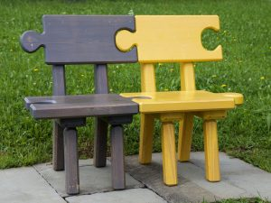 Bench designed like puzzle pieces